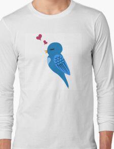Single cartoon bird in love Long Sleeve T-Shirt