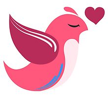 Single cartoon bird in love by berlinrob