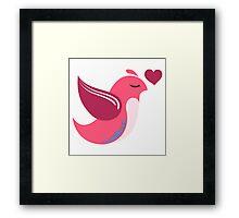 Single cartoon bird in love Framed Print