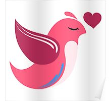 Single cartoon bird in love Poster