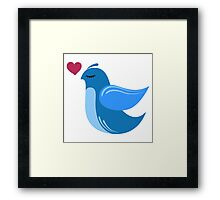 Single cartoon bird in love Framed Print
