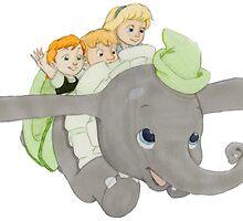 Anna, Kristoff and Elsa Ride the Dumbo ride by HollieBallard