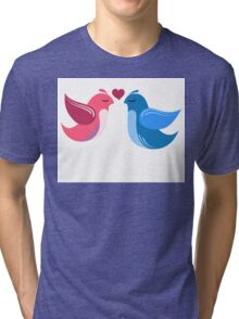 Two cartoon birds in love Tri-blend T-Shirt