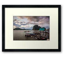 View of Phang Nga Bay from Koh Panyee at dusk Framed Print