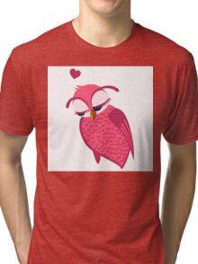 Cute cartoon owl in love Tri-blend T-Shirt