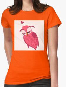 Cute cartoon owl in love Womens Fitted T-Shirt