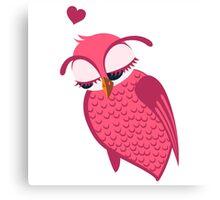 Cute cartoon owl in love Canvas Print