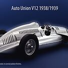 Auto Union V12 1938 by Phillip  McCordall