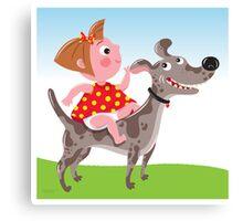Dog Riding Academy Canvas Print