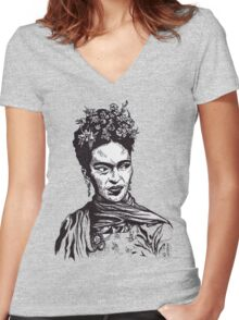 Tender Self Belief (portrait of Frida Kahlo) Women's Fitted V-Neck T-Shirt