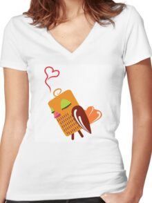 Cute cartoon owl in love Women's Fitted V-Neck T-Shirt