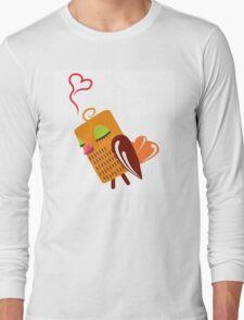 Cute cartoon owl in love Long Sleeve T-Shirt