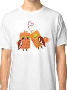 Two orange cartoon owls in love Classic T-Shirt