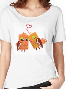 Two orange cartoon owls in love Women's Relaxed Fit T-Shirt