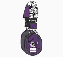 Edzemo Headphones in Purple One Piece - Long Sleeve