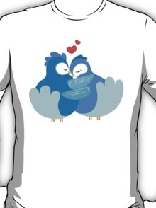 Two blue cartoon doves in love T-Shirt