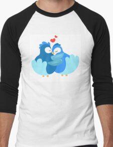 Two blue cartoon doves in love Men's Baseball ¾ T-Shirt