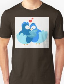 Two blue cartoon doves in love Unisex T-Shirt
