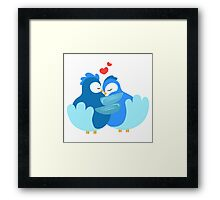 Two blue cartoon doves in love Framed Print