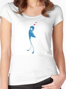 Single cartoon bird in love Women's Fitted Scoop T-Shirt