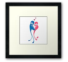 Two adorable cartoon birds in love Framed Print