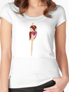 Adorable single cartoon bird in love  Women's Fitted Scoop T-Shirt