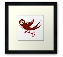 Adorable single cartoon bird in love  Framed Print