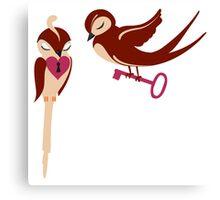 Two adorable cartoon birds in love Canvas Print