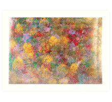 This is an abstract painting,colorful,green,red,gold,sponges Art Print