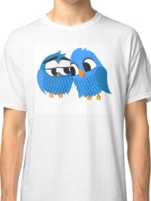 Two blue cartoon owls in love Classic T-Shirt