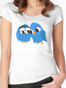 Two blue cartoon owls in love Women's Fitted Scoop T-Shirt