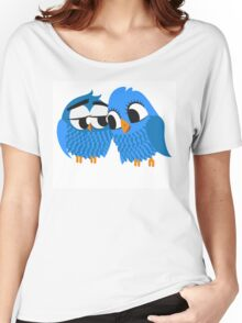 Two blue cartoon owls in love Women's Relaxed Fit T-Shirt