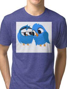 Two blue cartoon owls in love Tri-blend T-Shirt