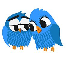 Two blue cartoon owls in love by berlinrob
