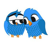 Two blue cartoon owls in love Photographic Print
