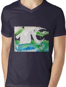 Big Fish Little Fish Mens V-Neck T-Shirt