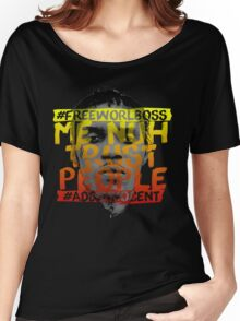 NUH TRUST PEOPLE #FREEWORLBOSS (YELLOW-RED) Women's Relaxed Fit T-Shirt