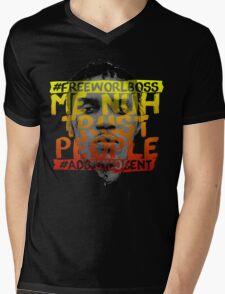NUH TRUST PEOPLE #FREEWORLBOSS (YELLOW-RED) Mens V-Neck T-Shirt