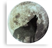 Wolf on the moon Canvas Print