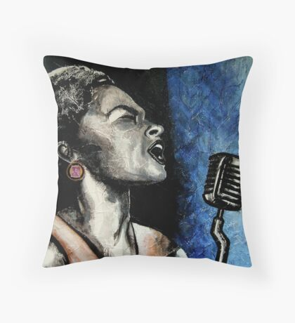 Lady Sings the Blues Throw Pillow
