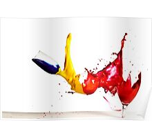 Falling glasses of paint on white background High speed photography  Poster