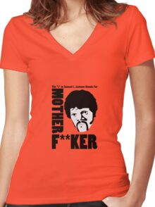 """The """"L"""" Stands for Mofo Women's Fitted V-Neck T-Shirt"""