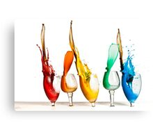 Exploding glasses of paint on white background High speed photography  Canvas Print