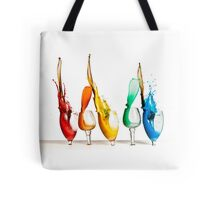 Exploding glasses of paint on white background High speed photography  Tote Bag
