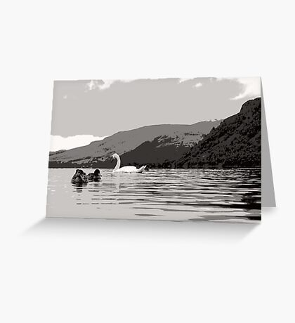 Quack and Hiss on Ullswater Greeting Card