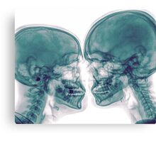 Kissing Couple. Two people kissing under x-ray Canvas Print