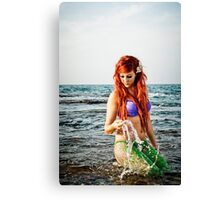 Mermaid sighting on the beach  Canvas Print