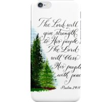 Inspirational handwritten peace verse with trees iPhone Case/Skin