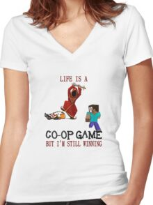 Life is a co-op game (but I'm still winning) Women's Fitted V-Neck T-Shirt