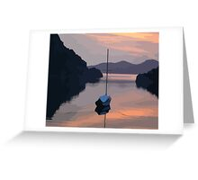 Boat At Bozburun At Sunset Vector Image Greeting Card